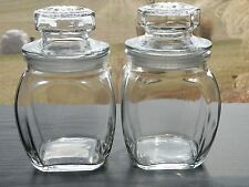 """2 Clear Glass Apothecary Style KIG Indonesia 5"""" Canister Candle Jars"""