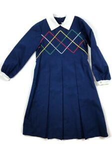Florence Eiseman 10 12 Girls Vintage Modest Dress Blue White Multi Ric Rac Pleat