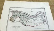Antique Map Southwalk Showing Boundary Of Borough By S Lewis C 1835 Walker