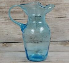 "Light Blue Blown Glass Pitcher Pinched Ice Dam Applied Handle 8"" Tall Art"