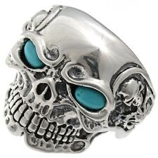 Mens Silver Skull Biker Ring Turquoise Eyes Sizes 9-13 (Larger $25.00 more)