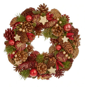 35cm Natural Burgundy Cone With Gliter & Stars Round Decorative Christmas Wreath