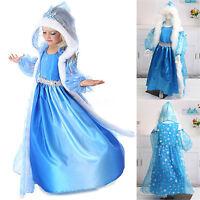 Frozen Princess Queen Elsa Cosplay Fur Cape Costume Party Fancy Dress 3-8 Years