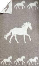"""Wende-Wolldecke Plaid Kuscheldecke Pferd """"Hoppy"""" 100%Wolle 130x200cm weiß/natur"""