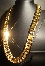 HIP HOP MEN SOLID 14K YELLOW GOLD FILLED 18MM MIAMI CUBAN LINK CHAIN NECKLACE