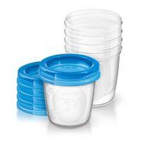 PHILIPS AVENT Aufbewahrungsbecher für Muttermilch, SCF619/05, 5x180ml Becher Sti