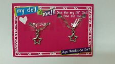 Girl's Set of Two Silver Star Necklaces For My Doll N Me