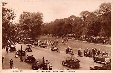 Vtg RPPC ROTTEN ROW HYDE PARK HORSE EQUESTRIAN RIDER Cars ENGLAND Antique / A15