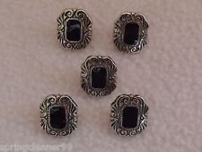 5 x BLACK & SILVER COLOURED ART DECO STYLE OBLONG BUTTONS ~ 24L (approx 14mm)