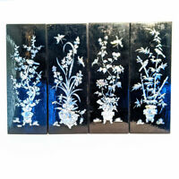 4 Vintage Oriental Asian Black Lacquer Mother of Pearl Wall Art Panels