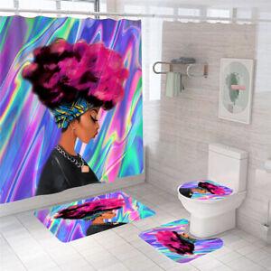 African Woman Shower Curtain Bathroom Rug Set Bath Mat Non-Slip Toilet Lid Cover