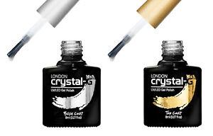CRYSTAL G TOP & BASE  COAT 2 BOTTLES UV/LED SOAK OFF GEL NAIL POLISH VARNISH