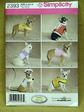 SIMPLICITY CRAFT PATTERN 2393  JACKETS  DOG CLOTHES SIZES XXS XS SM MED  UNCUT