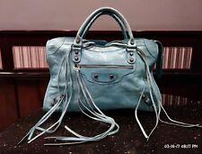 $485 BESSO Indigo Blue Leather Motorcycle City Bag Bronze Studs Hardware Satchel