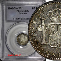 Mexico Charles IV Silver 1800 MO-FM 1/2 Real PCGS MS63 KEY SCARCE DATE  KM# 72