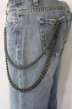 Men Black Pewter Mesh Metal Wallet Chain Chunky Punk Rocker Biker 2 Long Strands