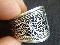 Wide Beautiful Vintage Adjustable Tibetan Delicate Lotus Filigree Amulet Ring