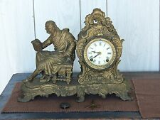 Ansonia Figural Mantle Clock PYTHAGORAS WILLIAM SHAKESPEARE
