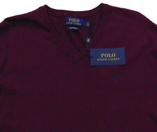 Men's POLO RALPH LAUREN Maroon Red V-Neck Pima Cotton Sweater M Medium NWT NEW