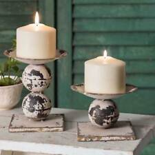 Set of Two - Spheres Pillar Candle Holders- Tabletop Decor - Classic Farmhouse