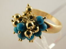 TURQUOISE STERLING GOLD VERMEIL RING DINGLE BALL BEAD SZ 7.75 ITALIAN SILVER