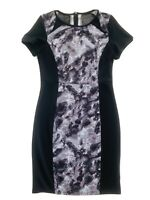 LIZ JORDAN Black Marble Pencil Stretch Body Con Knee Length Dress Size 8 EUC