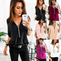 Fashion Womens Long Sleeve Loose Blouse Casual Shirt Summer Tops T-Shirt Zipper