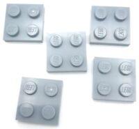 Lego 5 New Light Bluish Gray Plates 2 x 2 Dot Pieces Parts