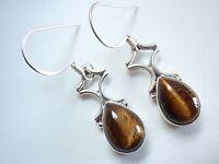 Tiger Eye Gem Stone Pear Shape Dangling 925 Sterling Silver Dangle Earrings New
