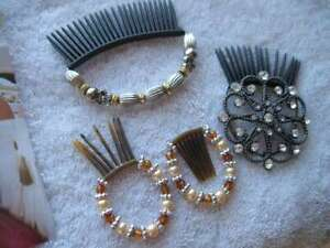 4 Scunci Bendini Clips Set Bend Slide Snap Diamonds Beaded Conair Hair Comb Pin