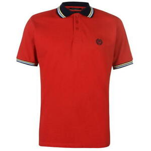 MENS PIERRE CARDIN RED CONTRAST TIPPED POLO SHIRT - RRP £19.99 - SALE 40% OFF