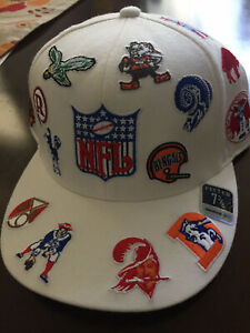 NFL All Over Retro Logos Hat Cap Fitted 23 Teams Shield Vintage Football League