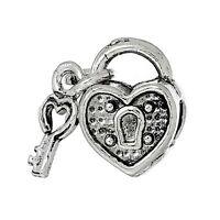Antique Silver Heart Lock & Key Charm Bead For European Charm Bracelets