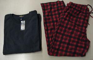 NWT Men's Club Room Fleece 2 Piece Pajama Set Size Large Red/Black SR 70.00