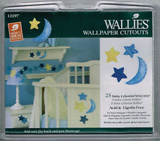 Baby Celestial Wallies 25 Blue Yellow Moon Stars Nursery Shower Wall Decals
