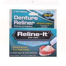 Denture Reline-it Reliner Kit Upper & Lower Dentures 2 soft relines zinc free
