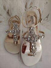 Badgley Mischka Sandal🌺Women 8 Unworn Flat Shoe Crystal Ivory Ankle Strap Thong