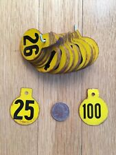 Vintage Magnolia Hasco Metal Livestock Cow Pig Sheep Ear Tags Numbered 1-100