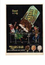 VINTAGE 1955 MARS CHOCOLATE NUT ALMOND CANDY BAR SUNDAE SODA SHOP AD PRINT ART