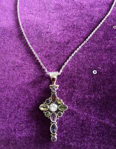 Multi Stone 925 Silver Cross & Chain.