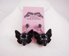 Tarina Tarantino Winged Skull Lucite Black Earrings NEW