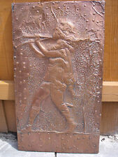 Copper Wall Hanging of The Pied Piper or Boy playing Flute/Pipes.
