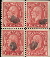 Canada Used F+ BLOCK of 4 Scott #197d 132 3c King George V Medallion Stamps