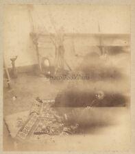 Joven niño oriental en un puente de barco Vintage albúmina ca 1880