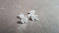 1 x Pair Silver Plated Earring Studs - Snowflake & Reindeer
