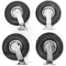 4 Pcs 10 Air Tire Pneumatic 2 Rigid Wheels Amp 2 Swivel Casters Cart Farm Caster