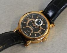 Uhr-Kraft Herren Armbanduhr Automatik vergoldet 2 Zeitzonen 3 Sekundenzeiger RAR