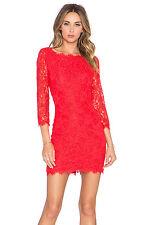 BNWT DIANE von FURSTENBERG Zarita Lace Dress Sundried Tomato Red Celebrity 6 348