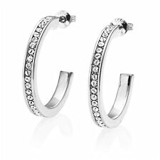 Silver 25mm Hoop Earrings with Crystals from Swarovski®