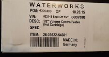 "Waterworks GUSV18R 1/2"" Volume Control Valve (Hot Cartridge)"